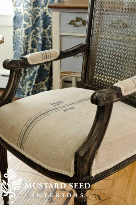 Grain Sack Chair via @missmustardseed