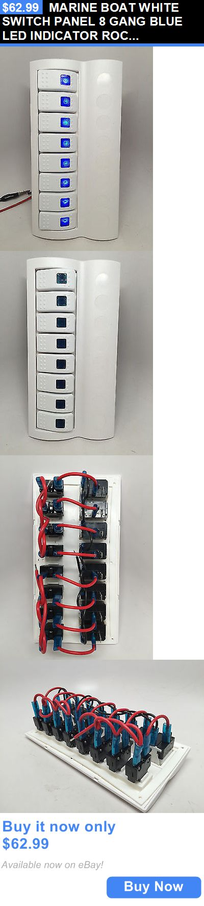 boat parts: Marine Boat White Switch Panel 8 Gang Blue Led Indicator Rocker Circuit Breaker BUY IT NOW ONLY: $62.99