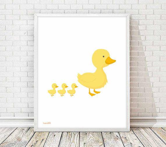 laminas infantiles, cuadros infantiles, animales infantiles, cuadro animales, cuadro pato, mamá pato, pato amarillo, lamina patos,laminas A4