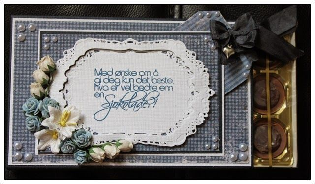 Scrappet toffifee eske, takk for hjelpengave! Maja adesign, North Star Stamps,       Wild Orchid Crafts, Spellbinders, Bazzillpaper