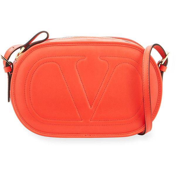 Valentino Stitched V Crossbody Bag ($870) ❤ liked on Polyvore featuring bags, handbags, shoulder bags, orange, red leather crossbody, red crossbody, valentino crossbody, leather crossbody handbags and crossbody shoulder bag