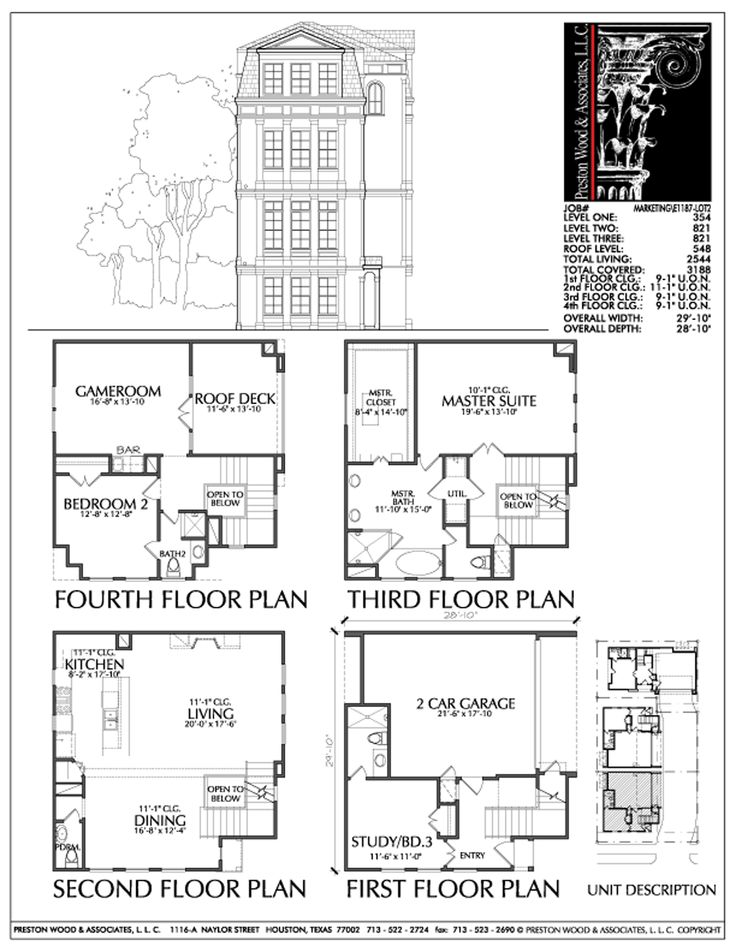 Townhome plan e1187 lot2 r c h pinterest Luxury townhome floor plans