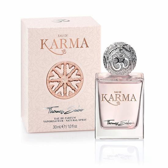A gorgeous mix of lotus flower, peony, rose essence and cedar gives this scent a lively sensuality.  Thomas Sabo Eau de Karma Parfum Spray, 30 mL, $49, thomassabo.com.