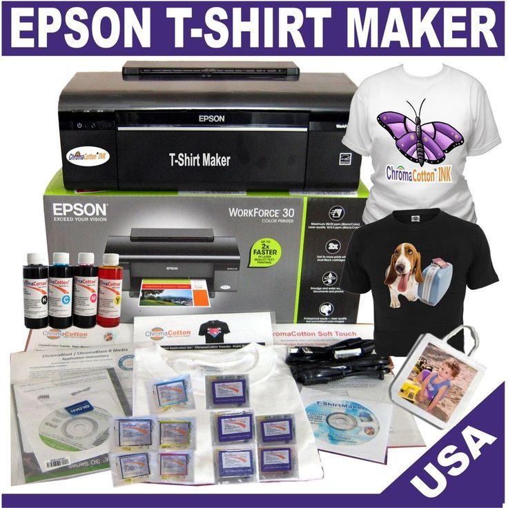 EPSON T-SHIRT MAKER PRINTER TRANSFER 100% COTTON BULK INK COMPLETE STARTER PACK #Epson