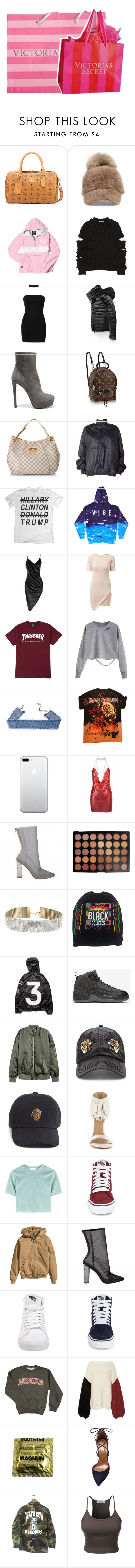 """""""for the gang. 💰🔪"""" by y-oungin ❤ liked on Polyvore featuring MCM, Steve Madden, Christopher Kane, Boohoo, Canada Goose, Prada, Louis Vuitton, adidas Originals, Sanders and Fashion Union"""