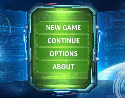 Tablet Sci-Fi game menu
