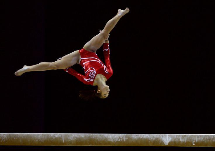 Evgeniya Kanaeva of Russia competes during the Individual
