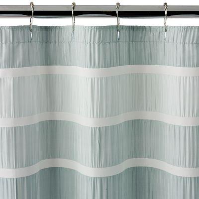 Dragonfly Flower Striped Shower Curtain In Aqua