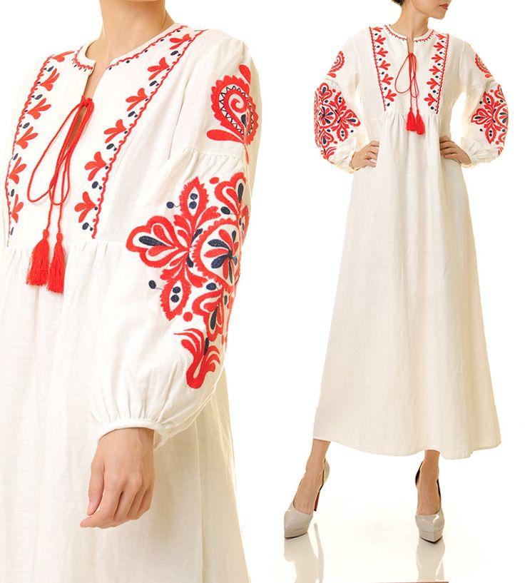 White Vyshyvanka Dress | Embroidery Dress | Embroidered Dress | Bohemian Dress | Long Sleeve Maxi Dress | Peasant Dress | Linen Dress 6417 by Tailored2Modesty on Etsy