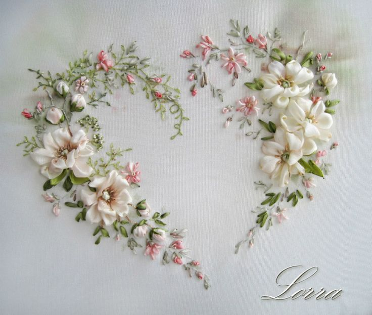 ribbon embroidery heart by Lorra58