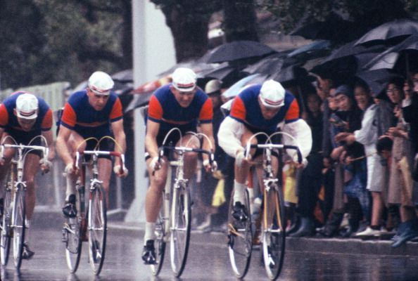 Team GB compete in the Men's Team Time Trial during the Tokyo Olympics in 1964