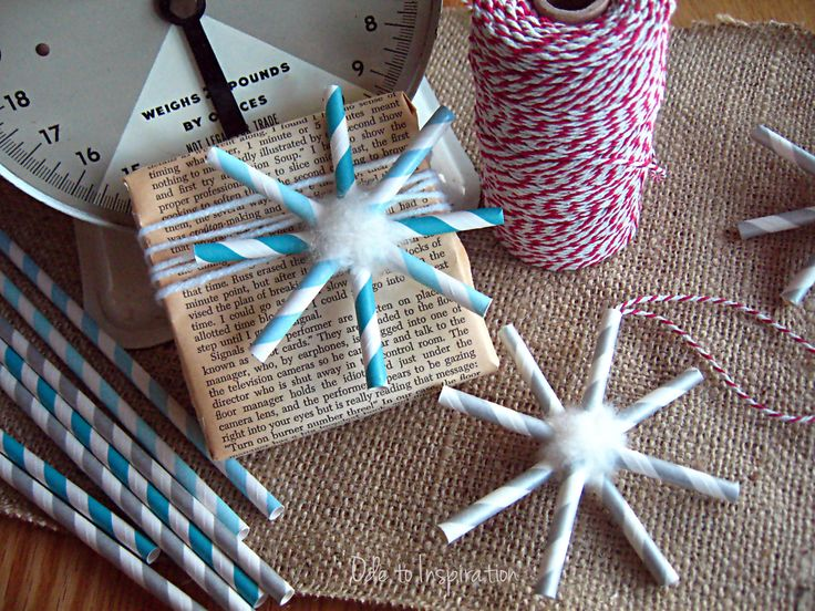 Paper Straw Snowflake Ornament or Gift Tag