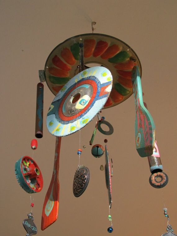 Recycled Art Windchime Decorative Porch Ornament- Made With Repurposed Cake Mould, Spoons and Metal Parts and Added Beads, Art Mobile.
