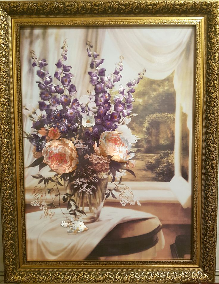 Flori la fereastra - Broderie mosaique - 40 x 55 cm fara rama ( + Rama, Sticla antireflex ) 220 Euro  Pret: 1.012 RON