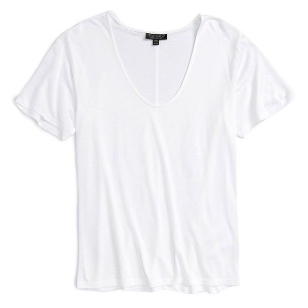 Topshop V-Neck Tee ($25) ❤ liked on Polyvore featuring tops, t-shirts, shirts, tees, white, v neck t shirts, v neck tee, v-neck shirts, white t shirt and white tee
