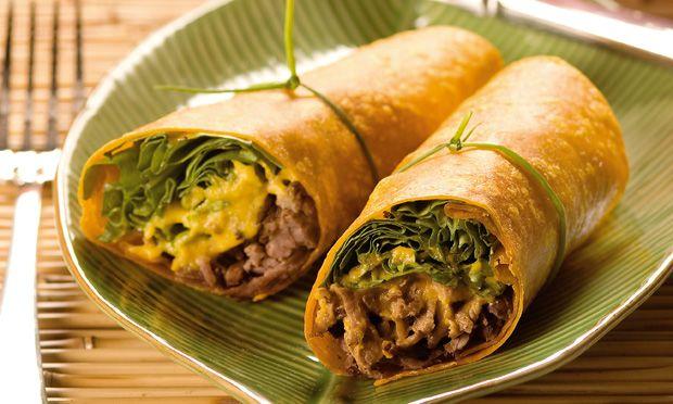 Receita de Wrap carne-seca com purê de abóbora - Sanduíche - Dificuldade: Fácil - Calorias: 312
