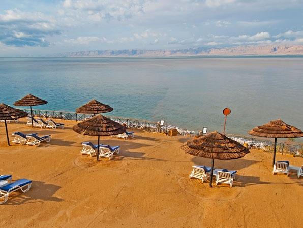 The Movenpick Resort beach along Jordan's Dead Sea.