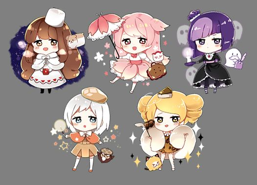 Too.... Much Kawaii...... *Explode my mind. Cherry Blossom, Cocoa, Blackberry, CreamPuff, CheeseCake