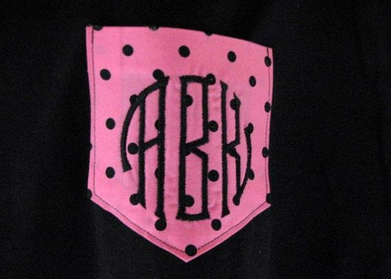 Polka Dot Shirt Monogrammed Pocket Tee Polka Dot shirt shirts tshirt Pocket Monogram t shirt Personalized Gifts - Embroidered via Etsy