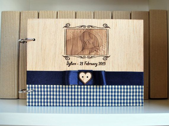 wood new born notebook A5 your photo engraved with by WoodYourDay