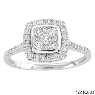 @Overstock.com - De Couer 10k White Gold Diamond Halo Engagement Ring (H-I, I2) - Unique and beautifully eye-catching, this Imperial style white gold halo engagement ring is bezel set in scratch-resistant 10-karat gold. With 34 shimmering side diamonds for extra sparkle, this ring is the perfect declaration of your dedication.  http://www.overstock.com/Jewelry-Watches/De-Couer-10k-White-Gold-Diamond-Halo-Engagement-Ring-H-I-I2/6223556/product.html?CID=214117 $499.99