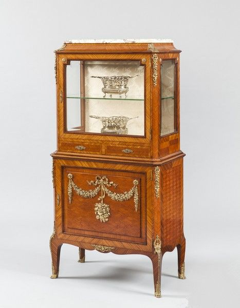 French Kingwood Parquetry and Ormolu Mounted Vitrine