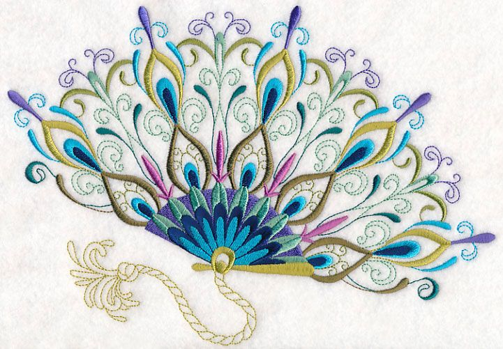 Fanciful Peacock Fan 10x7 Machine Embroidery Designs at Embroidery Library! -