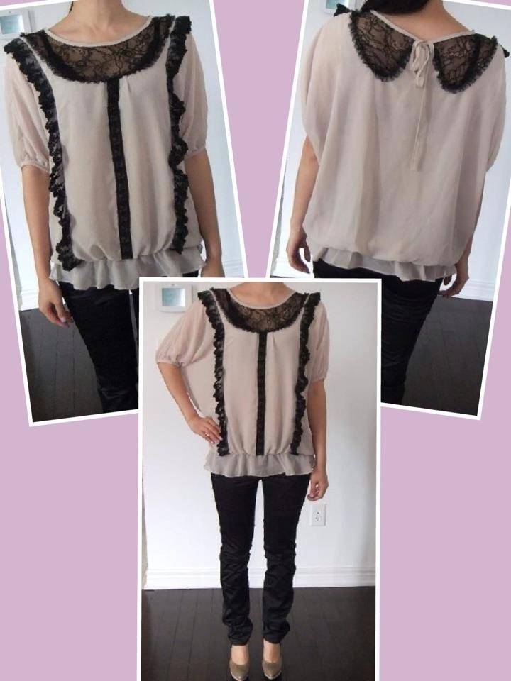 """OL Silk Lace Blouse.  QTY:1  Length:22.5""""  Sleeves:9.5""""  Waist:25-30""""  Was:54   CAD:Now $27"""