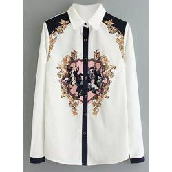 Embroiderd Fashionable Long Sleeve Printed Blouse