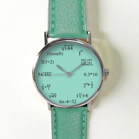 Math Formula Teal Watch , Equation Watch, Vintage Style Leather Watch, Women Watches, Mens Watch, Unisex , Boyfriend Watch,