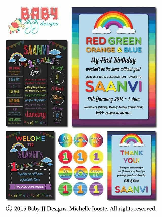 Rainbow Birthday Design Package by Baby JJ Designs https://facebook.com/babyjjdesigns