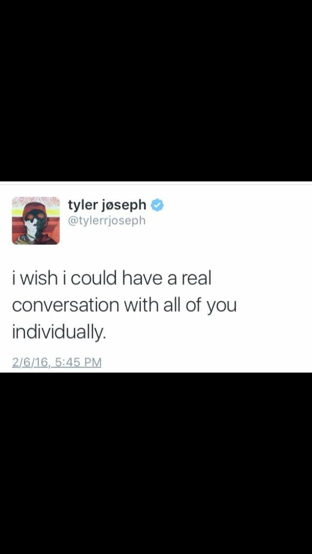 Tyler Joseph // Twitter // twenty one pilots.. Me too Tyler, me too
