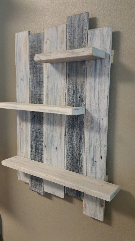 Handmade Rustic Reclaimed White Washed Wood Shelving Wall Decor Reclaimed Wood Designed Shelving Wall Hanging Shelves Rustic Wall Hangings Handmade Home Decor