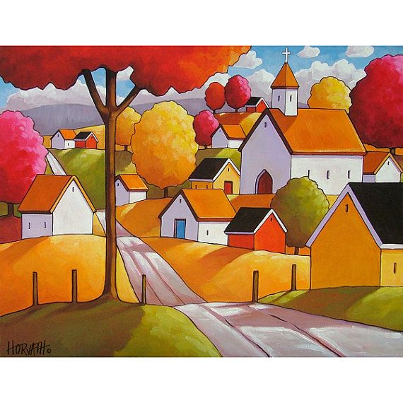 8x11 Art Print of Autumn Town Road Modern Folk by SoloWorkStudio