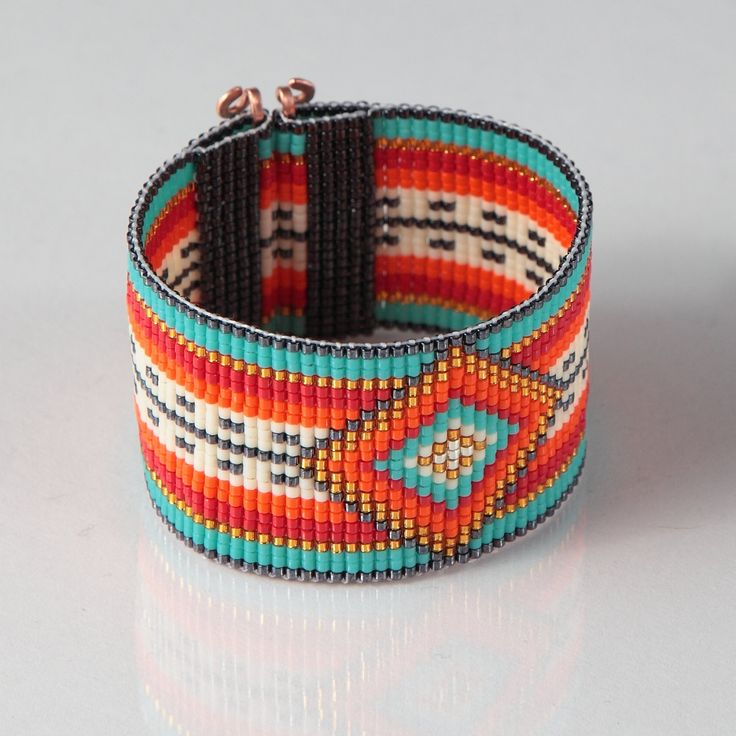 Mexican Serape Bead Loom Bracelet - Artisanal Jewelry - Southwestern - Orange Red - Silver Western Jewelry - Beaded Bohemian - Tribal - Boho by PuebloAndCo on Etsy