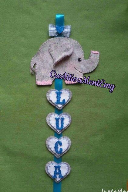 Elefantino in feltro, doppi cuoricini in feltro con nome in fommy glitterato, per la stanza dei bambini