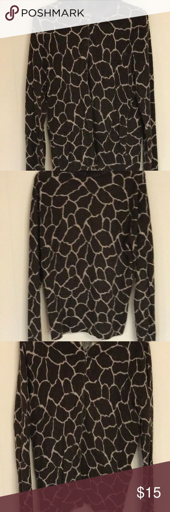Pretty giraffe-print zip-front sweater Great condition! Warm and cozy with detachable faux-fur collar. Karen Scott Sweaters