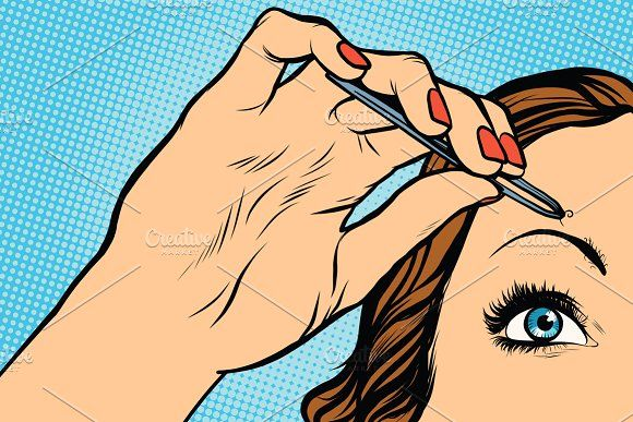 woman plucking eyebrows depilating Graphics woman plucking eyebrows depilating with tweezers pop art retro vector. Makeup and beauty by studiostoks