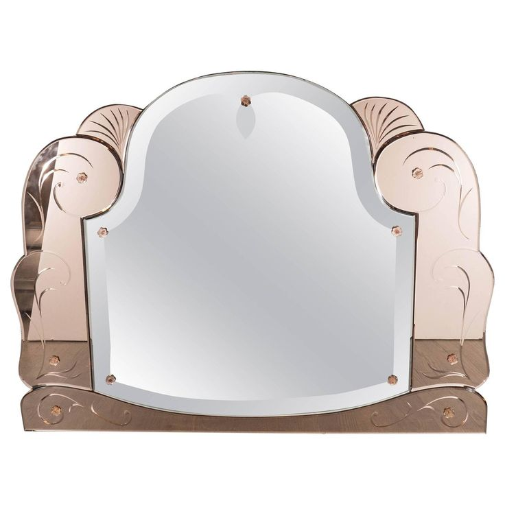 Art Deco Scroll Form Mirror with Copper-Tone Mirror Border | From a unique collection of antique and modern wall mirrors at https://www.1stdibs.com/furniture/mirrors/wall-mirrors/