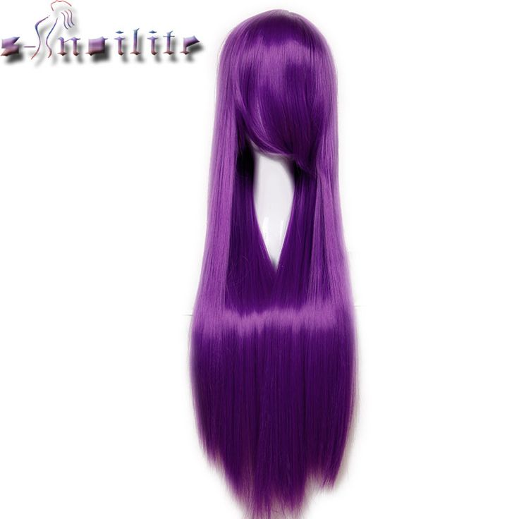 S-noilite 80cm Long Straight Women lady Wig Heat Resistant Fiber Synthetic Hair Party Cosplay Wigs Real Thick Hairpiece