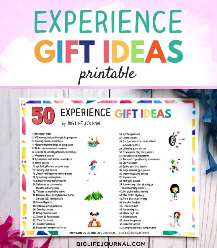 50 Experience Gift Ideas For Families Children Experience Gifts Christmas Gift Alternatives Adventure Gifts