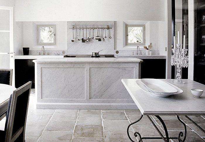 gorgeous simple kitchen with marble island