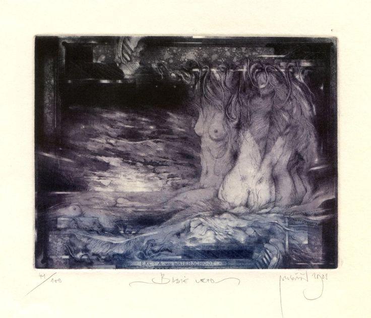 Babie leto - ARTIST: Zdenek Bugan, Slovakia - TECHNIQUE: C3.C4,C5,C7. - PLATE SIZE: 10.0 X 13.0 cm. - PAPER SIZE: 14.5 X 17.5 cm.