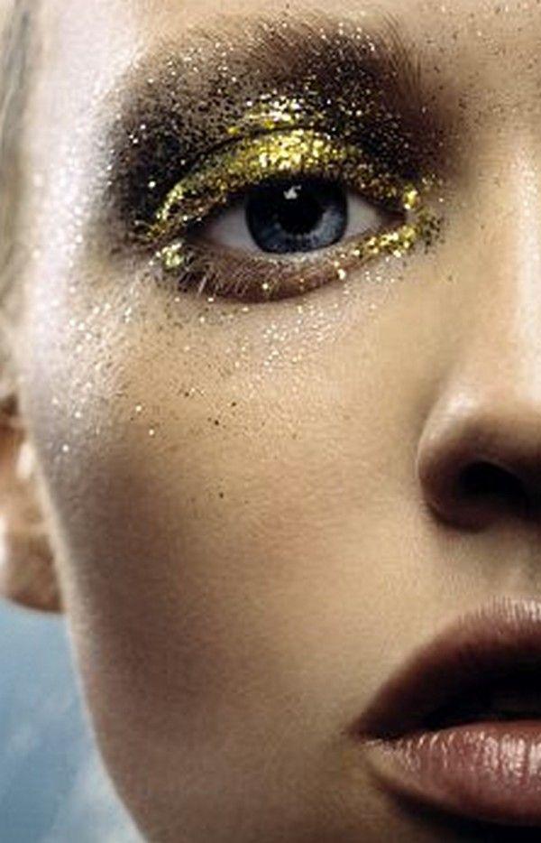 Metallic Olive/Gold Coarse Glitter All-Over Eye Makeup