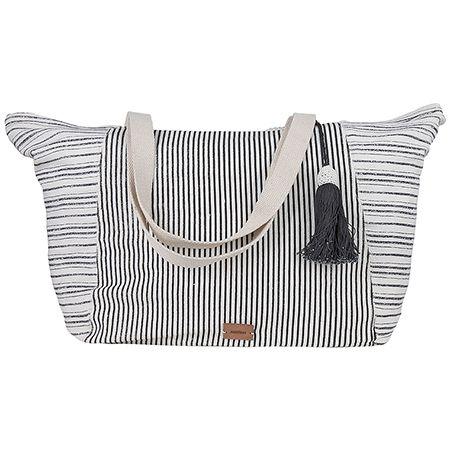 Achilleas Accessories - Προϊόντα : Collection   SS 2017 / Τσάντες θαλάσσης / Γυναικεία τσάντα θαλάσσης με μαύρες λεπτές ρίγες ιδανική για ένα mix and match look. <!--- summeressentials -->