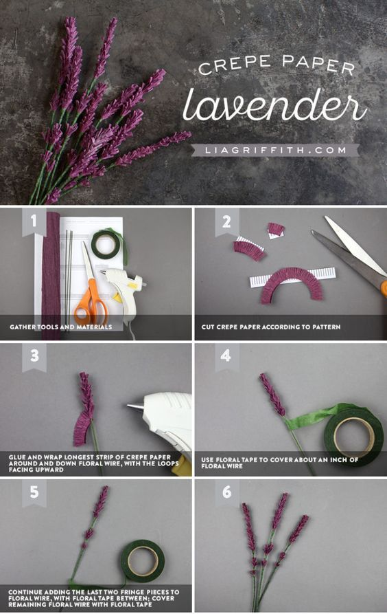 Crepe Paper Lavender - Lia Griffith - www.liagriffith.com #crepepaper #crepepaperflower #crepepaperflowers #crepepaperrevival #paper #paperart #paperflower #paperflowers #diyidea #diyideas #diyproject #diyprojects #madewithlia