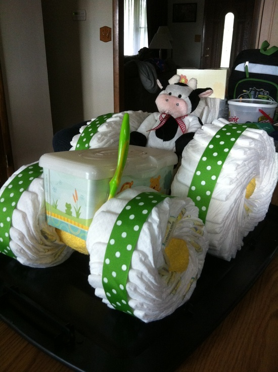 Tractor Diaper Cake. You can special order diaper cakes, come to the store, Tiny Tots Trunk Btween in Brownwood, Texas or email us at sales@tinytotstrunk.com