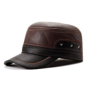 Unisex PU Leather Earflap Earmuffs Baseball Cap Adjustable Plush Linen Golf Windproof Outdoor Hat
