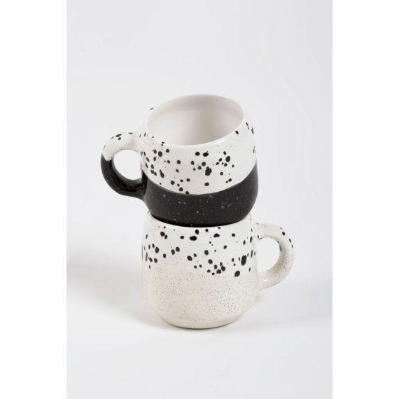 Choco Mug Ecru and White by MinkaInhouse on Etsy