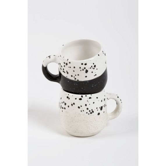 Choco Mug Ecru and White by MinkaInhouse on Etsy